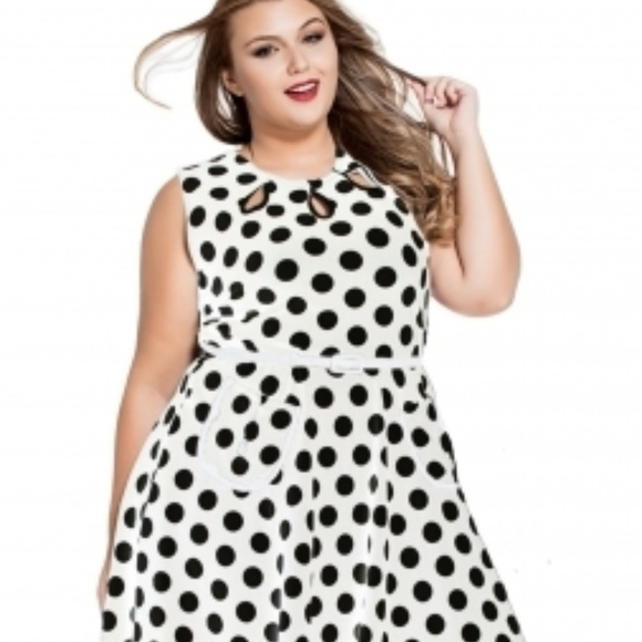 1bac8e72a8 Dresses | White Plus Size Polka Dot Dress W Keyholes | Poshmark